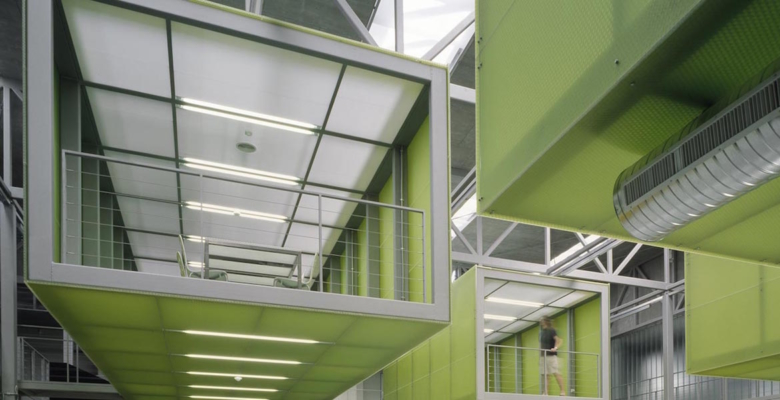 Atrium D study space with transparent composite panels  Bencore education design  Surface Matter