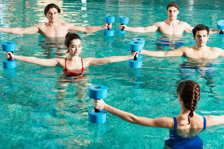 water aerobics students working out