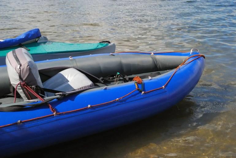 inflatable kayak at river