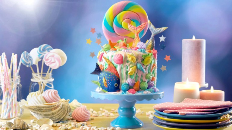 mermaid inspired birthday cake