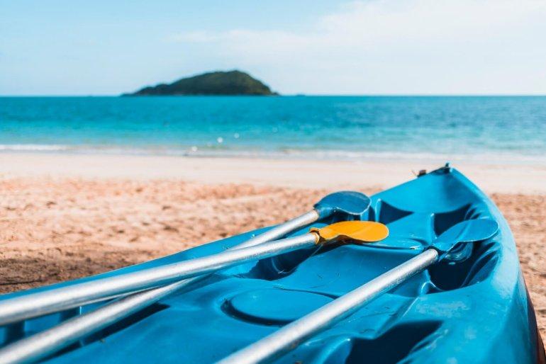 kayak laying on beach