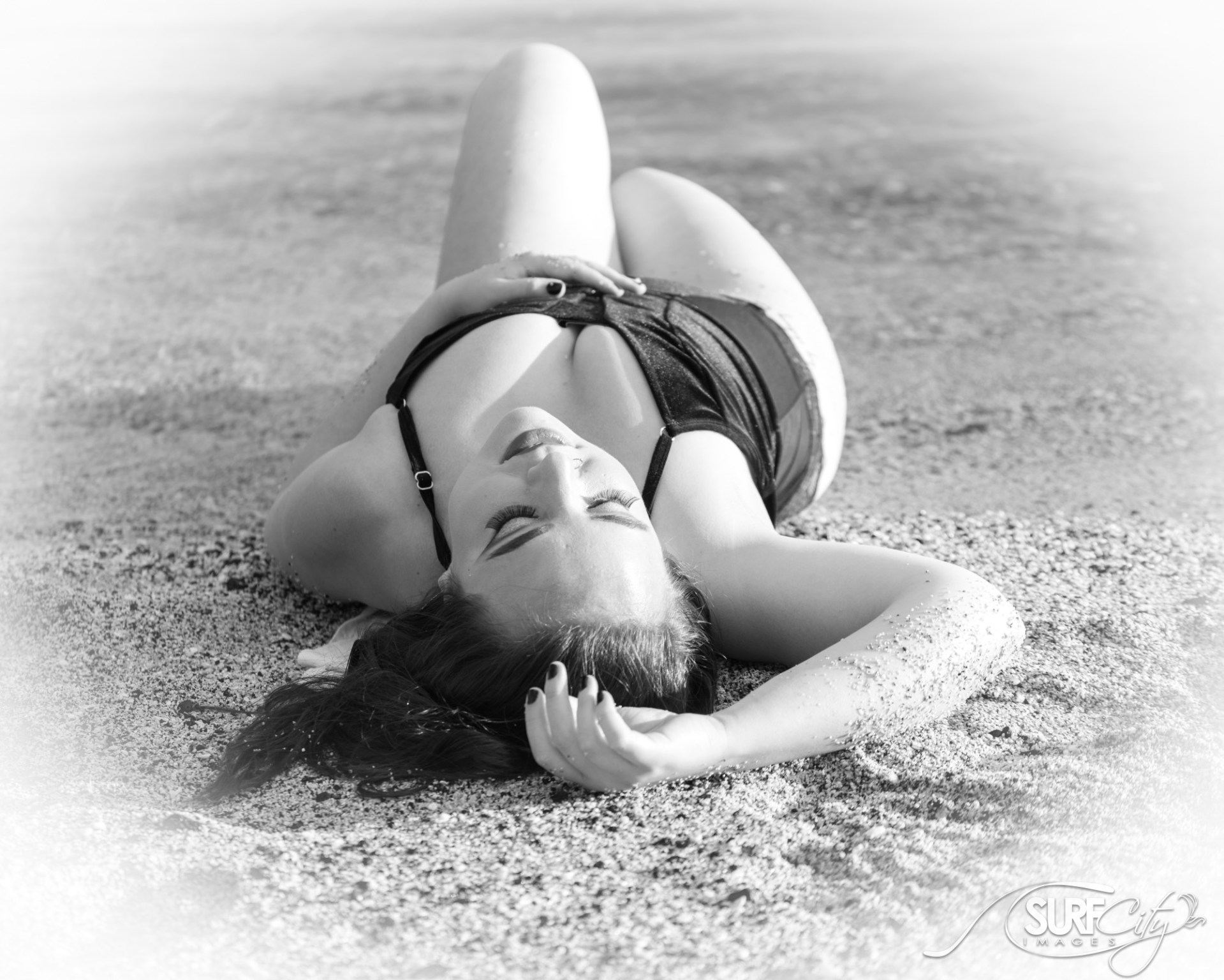BW beach boudoir photographer