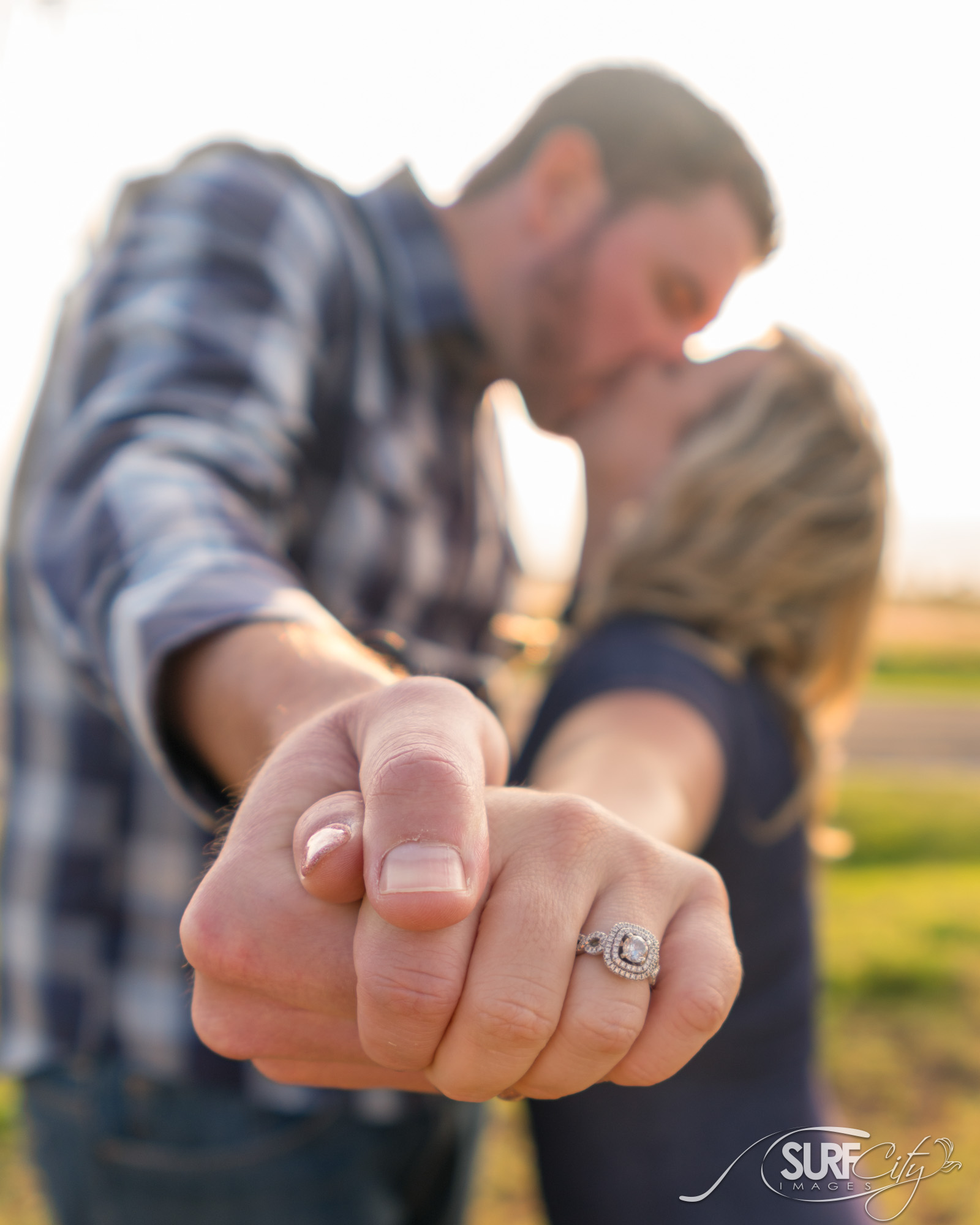 Wedding ring engagement portraits