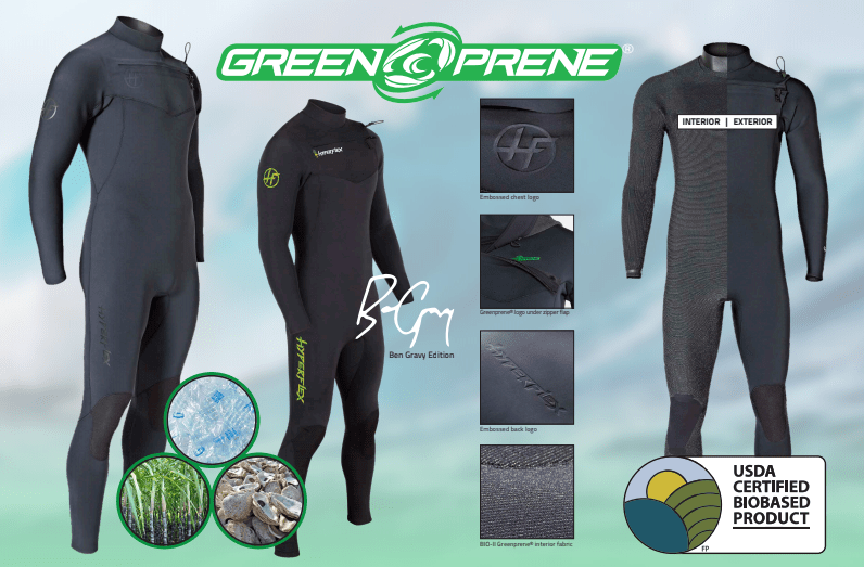 Hyperflex Unveils New Wetsuit Line 100% Neoprene Free, Sustainable, Plant Based Insulating Foam Called Greenprene®