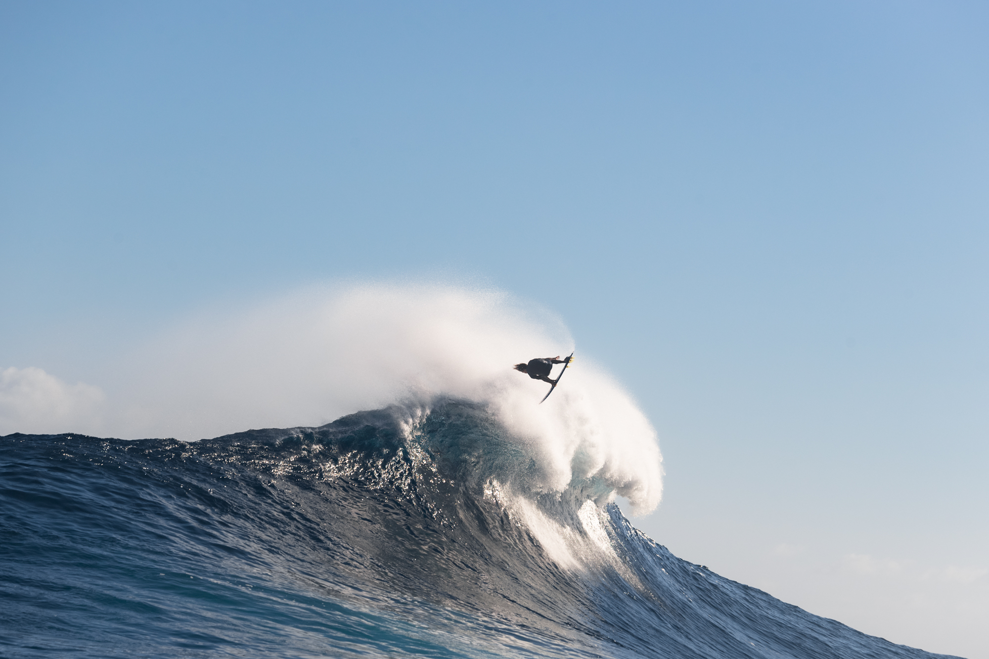 Kai Lenny, taking a novel approach at Jaws earlier this season.