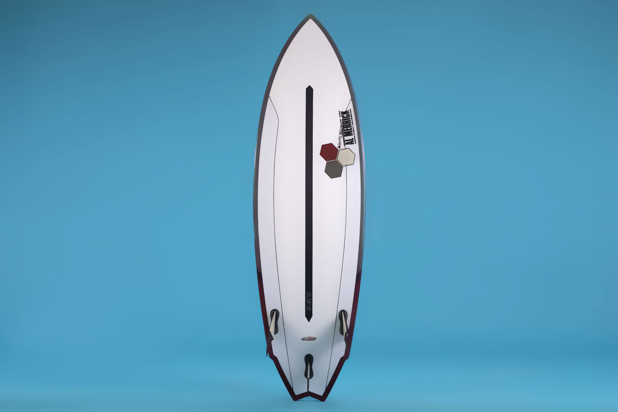 """Twin Fin"" by Channel Islands with Surftech's Dual-Core technology."