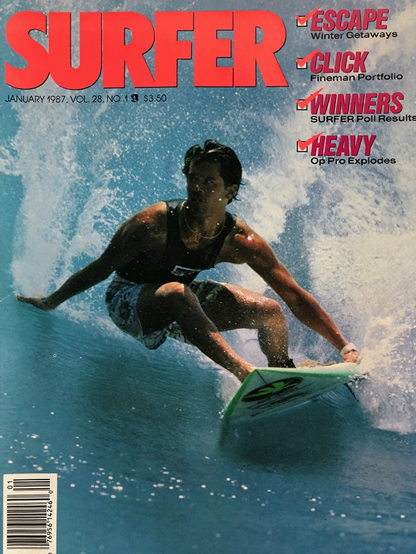Derek Ho, steezily landing the cover of SURFER mag the year after winning his first Pipe Masters