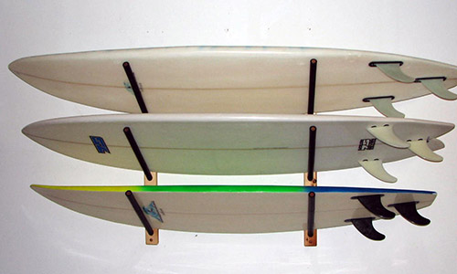how to hang a surfboard on a wall