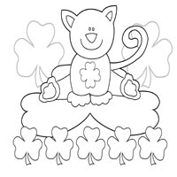 St. Patrick's Day Cat » Coloring Pages » Surfnetkids