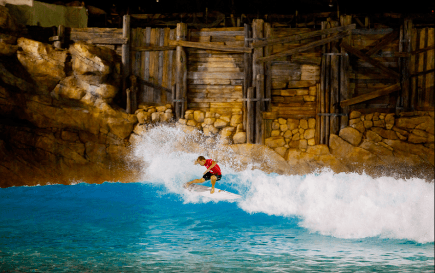 Tanner Strohmenger surfing Disney's Typhoon Lagoon during the Southeast Oakley Surf Shop Challenge
