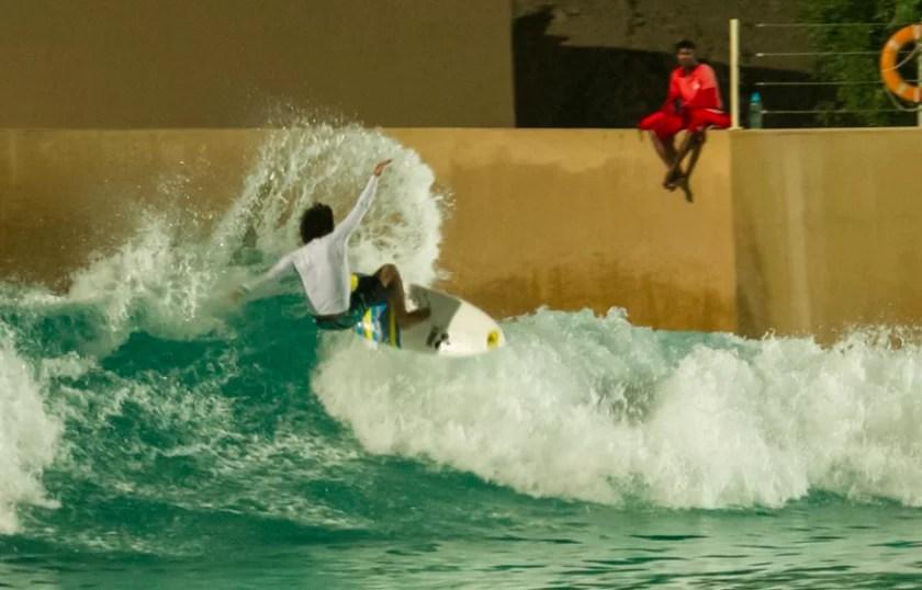 Mo Rahma frontside blast at Wadi Adventure Wave Pool in Al Ain Abu Dhabi | Surf Park Central