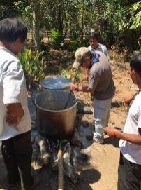 Julio cooking.