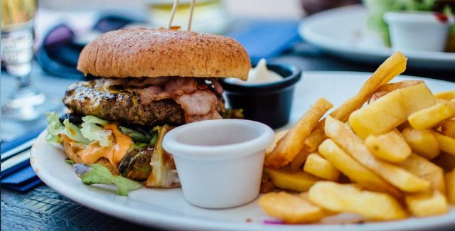 Cheesy Burger With Fried Special Dish