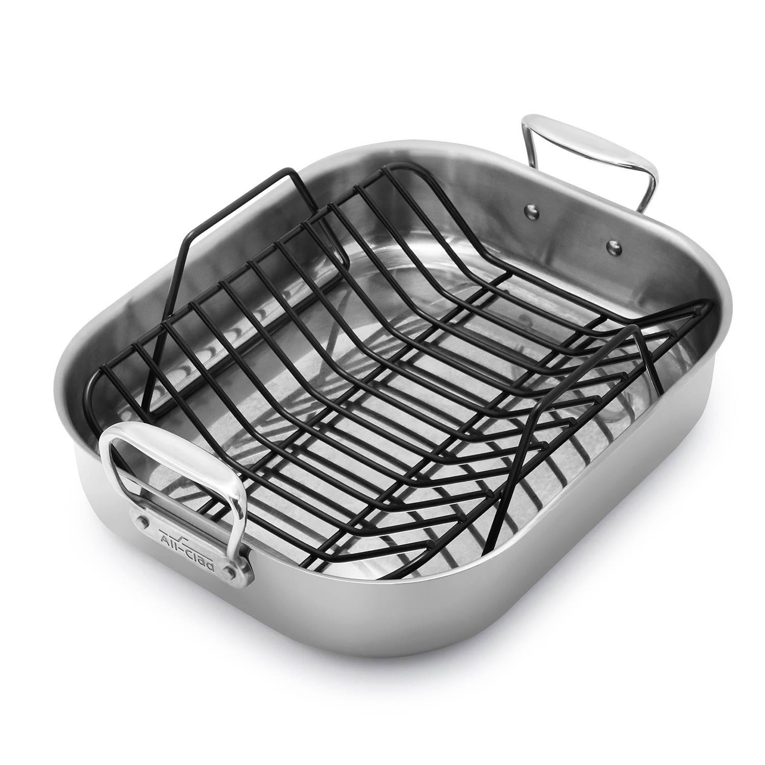 all clad stainless steel roasting pan with nonstick rack sur la table
