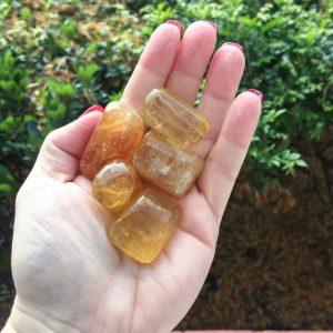 honey calcite tumble stones