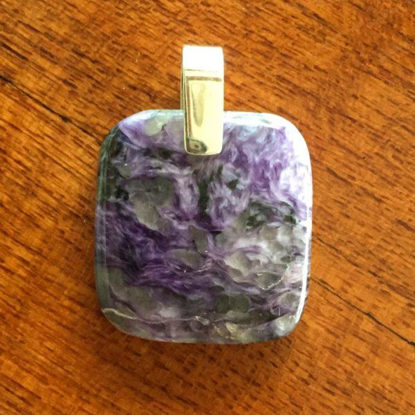 square charoite pendant