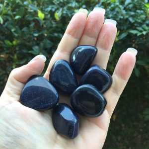 Blue goldstone tumble stone