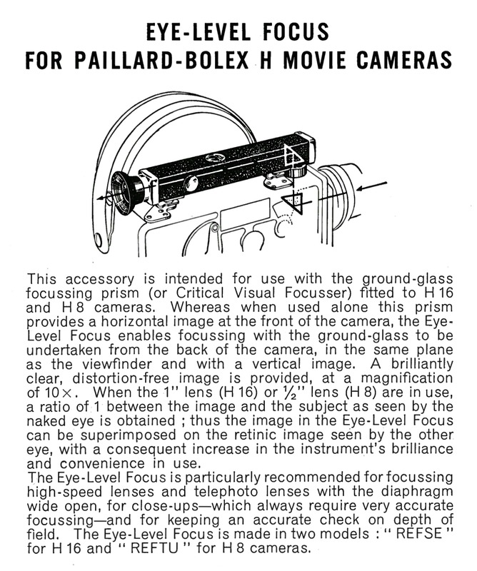 Instructions for Use Paillard Bolex Model H 8mm & 16mm