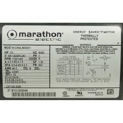 Marathon Electric Ac Motor Wiring Diagram S10 Headlight Switch 1 3 Hp All Data 1725 1425 Rpm 100 120 200 240 Volt 5kcr46jn0033y Explosion Proof