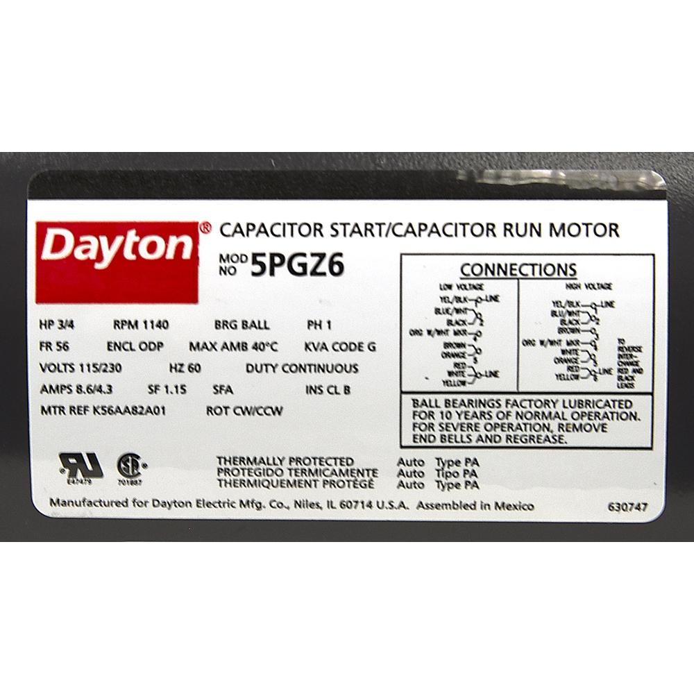 hight resolution of 3 4 hp 115 230 volt ac 1140 rpm motor dayton k56aa82a01 alternate