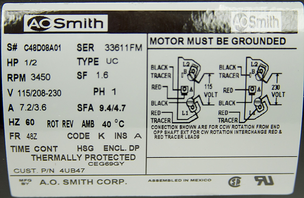 Wiring Diagrams Moreover Hp 3450 Rpm Electric Motor On Ao Smith Motor