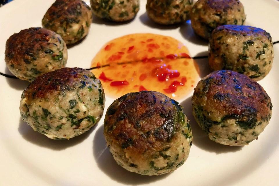 chicken spinach balls with feta