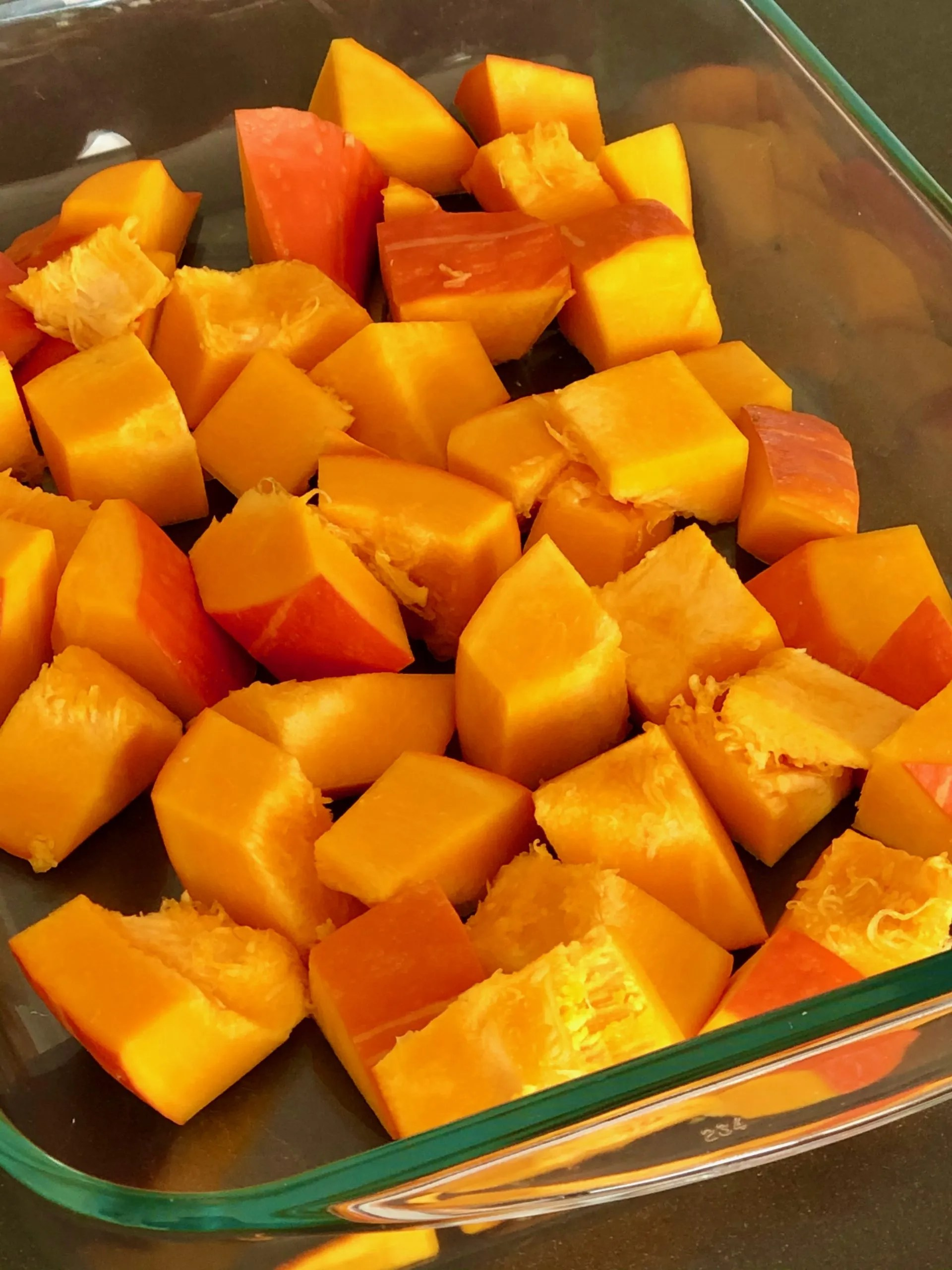 pumpkin cubes for spicy roasted pumpkin