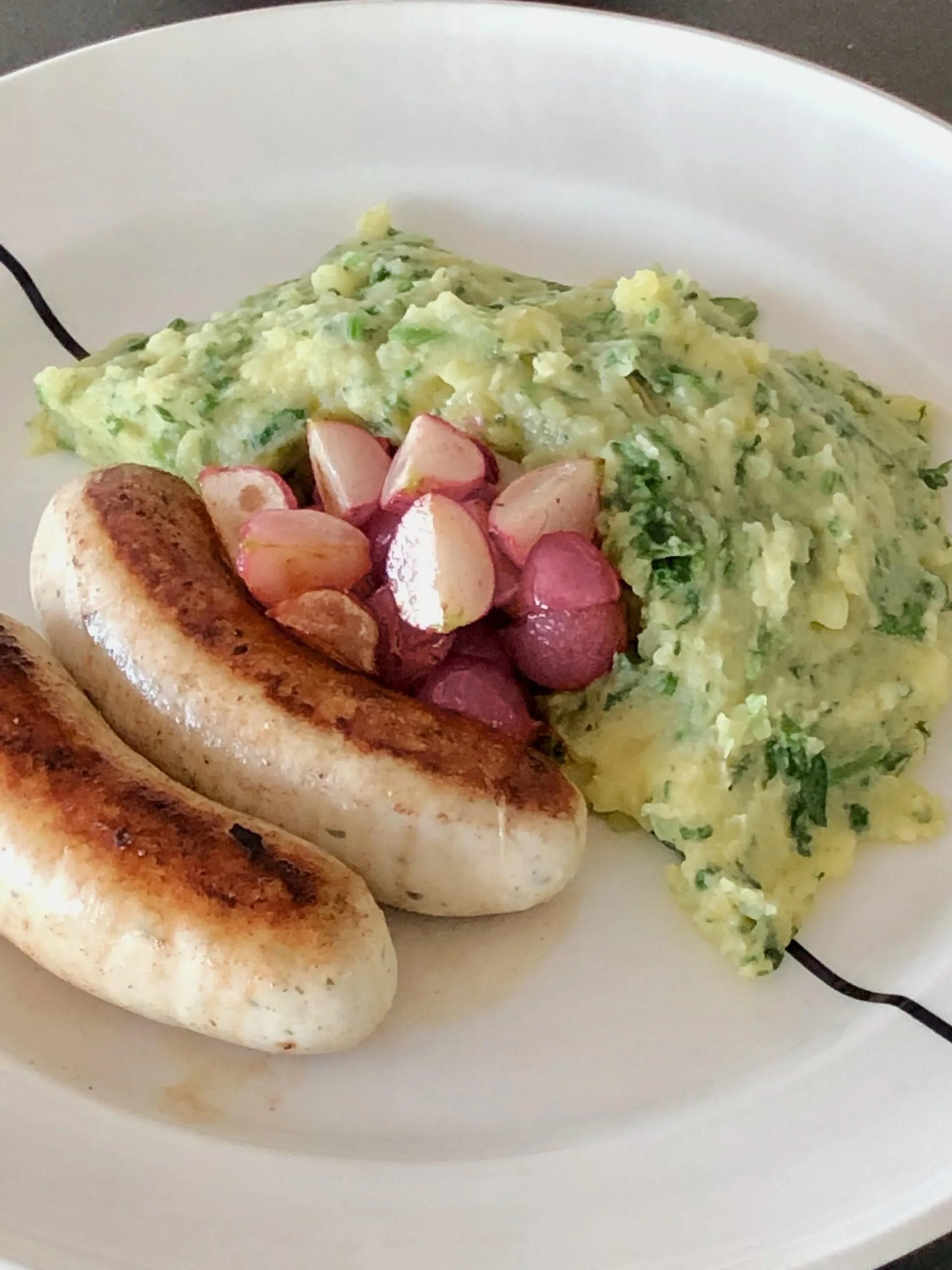 mashed potatoes with radish green