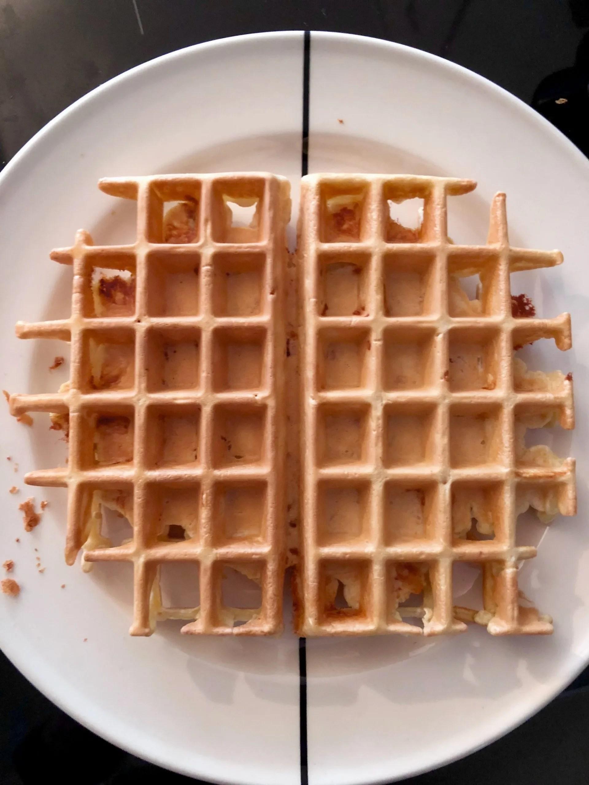 Belgian blue cheese bacon waffles