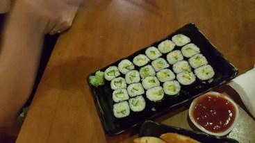 Avocado and cucumber sushi