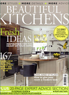 kitchen magazine discount table sets press news surrey kitchens two tone hand painted chichester designed by chris budgen of featured in beautiful