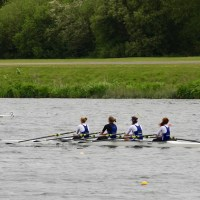 Women's 4x winning at Nottingham Regatta 2017 having all learnt to row at Surrey.