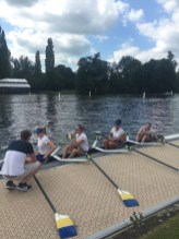Ali Douglass relaying some words of wisdom to the quad on their way to face Tideway Scullers