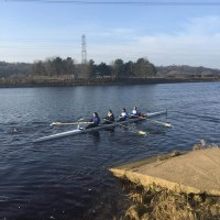 The beginner women's four at BUCS Head.