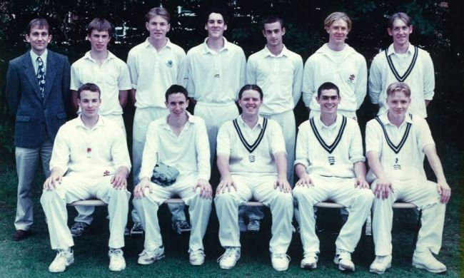 Mr Cook pictured with the 1st XI cricket team in 1997