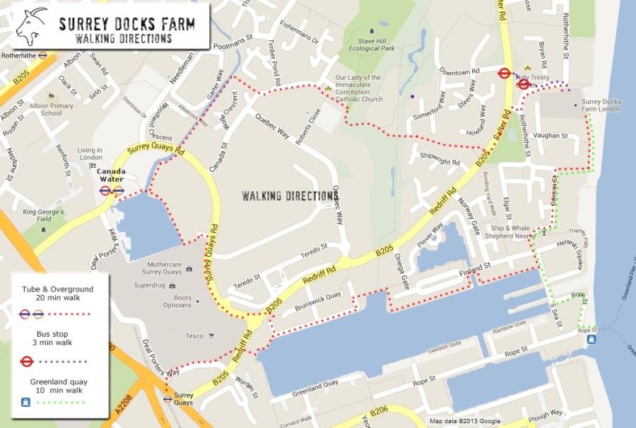 Surrey Docks Farm walking directions