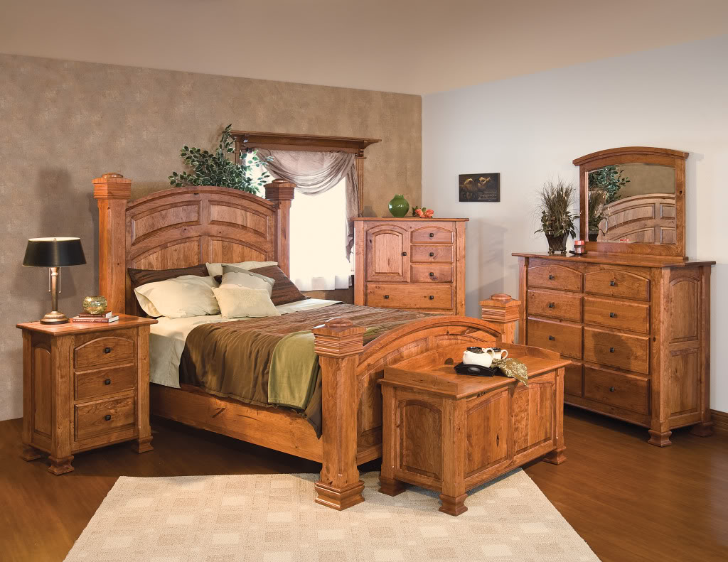 Amish Luxury Rustic Cherry Bedroom Set Surrey Street Rustic