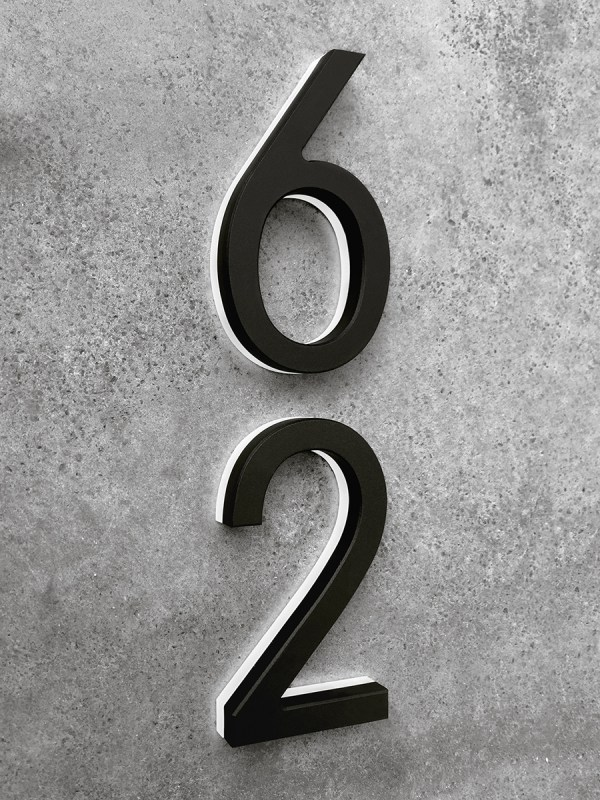 Luxello Modern Black Lighted House Numbers 8