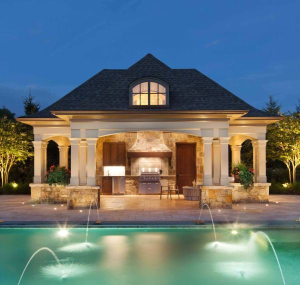 pool house with outdoor kitchen Everything You Need to Know to Plan Your Outdoor Kitchen: | Surrounds Landscape Architecture