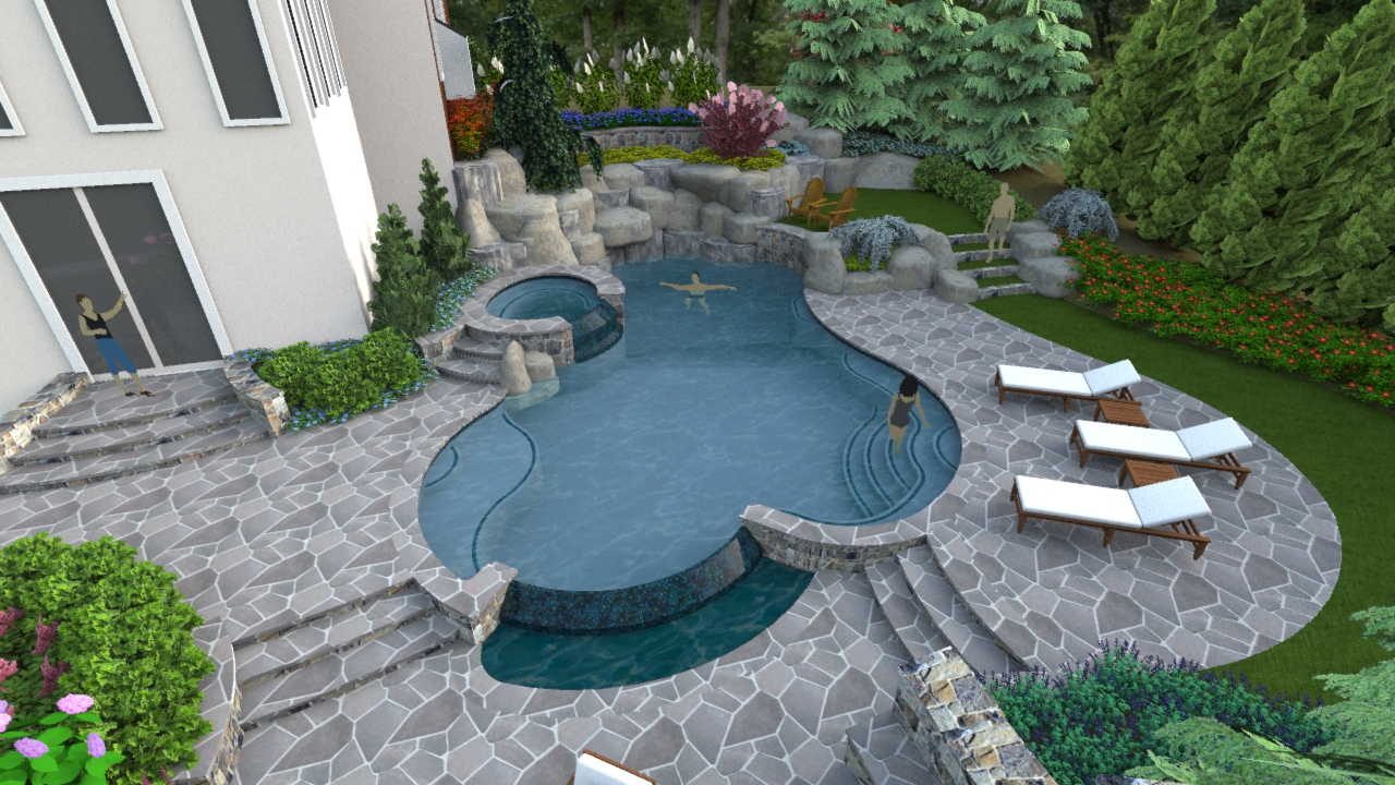 A RightSized Swimming Pool Design In Herndon Virginia  Surrounds Landscape Architecture