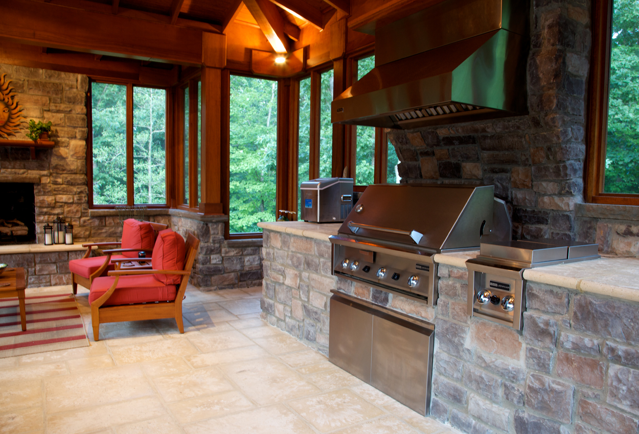 outdoor kitchen with fireplace best floor design essentials