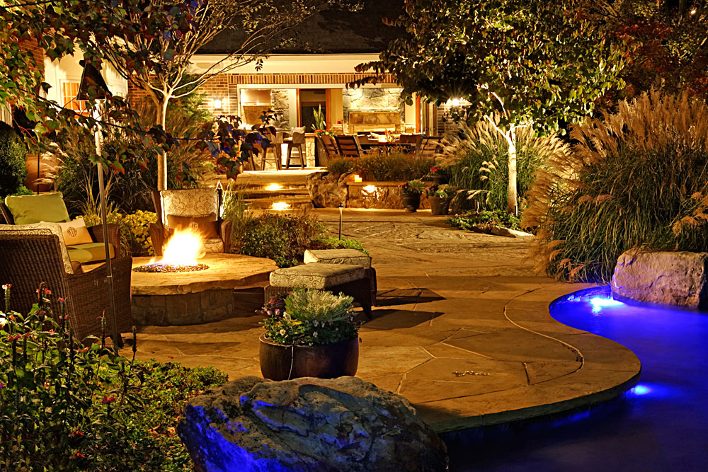Flagstone and Boulder Terraces Pool House Outdoor Lighting  Surrounds Landscape Architecture