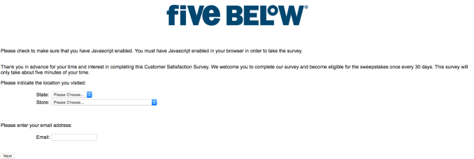 Fivebelowsurvey procedure