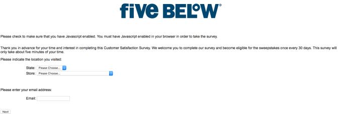 Fivebelowsurvey procedure