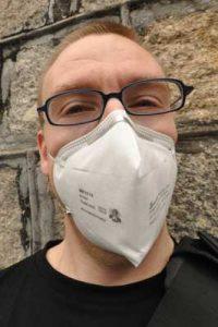 man wearing n95 mask