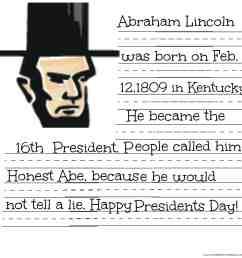 FREE President Lincoln \u0026 Washington Coloring Sheet \u0026 Handwriting Practice  Printables [ 2000 x 2000 Pixel ]