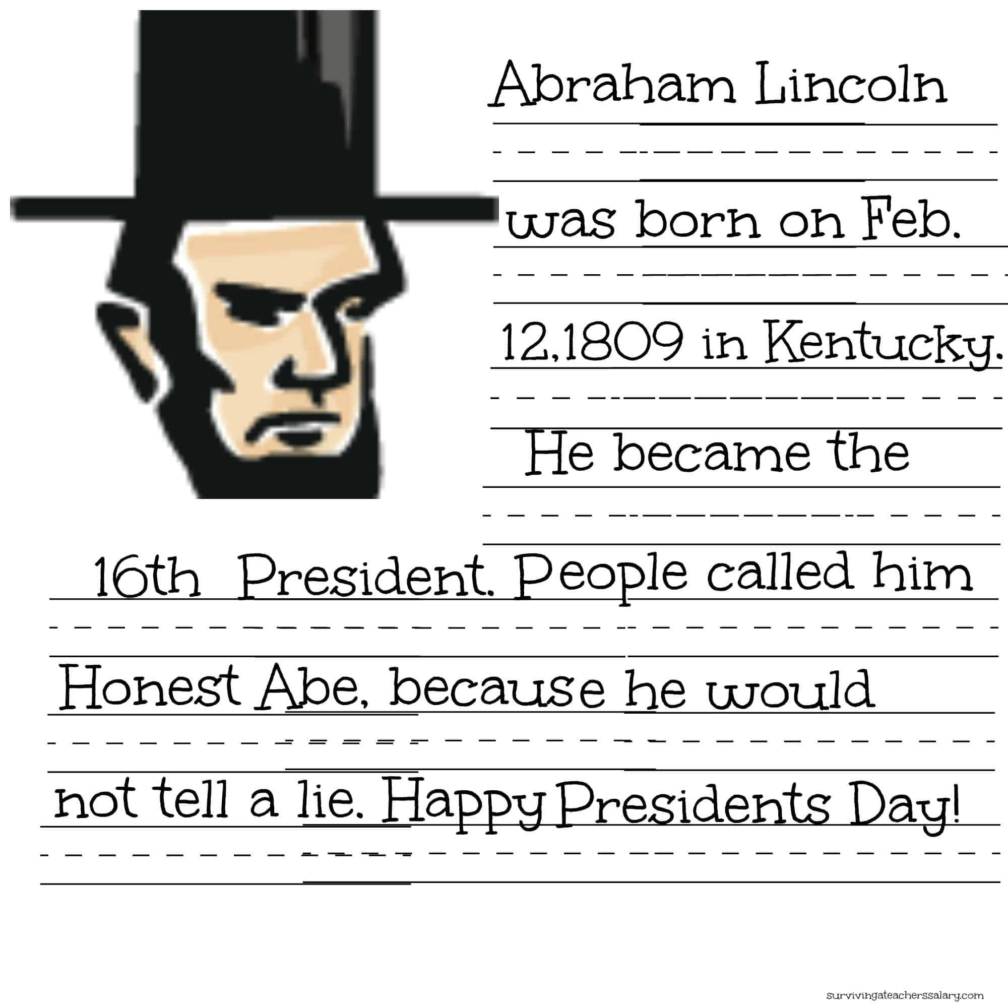 hight resolution of FREE President Lincoln \u0026 Washington Coloring Sheet \u0026 Handwriting Practice  Printables