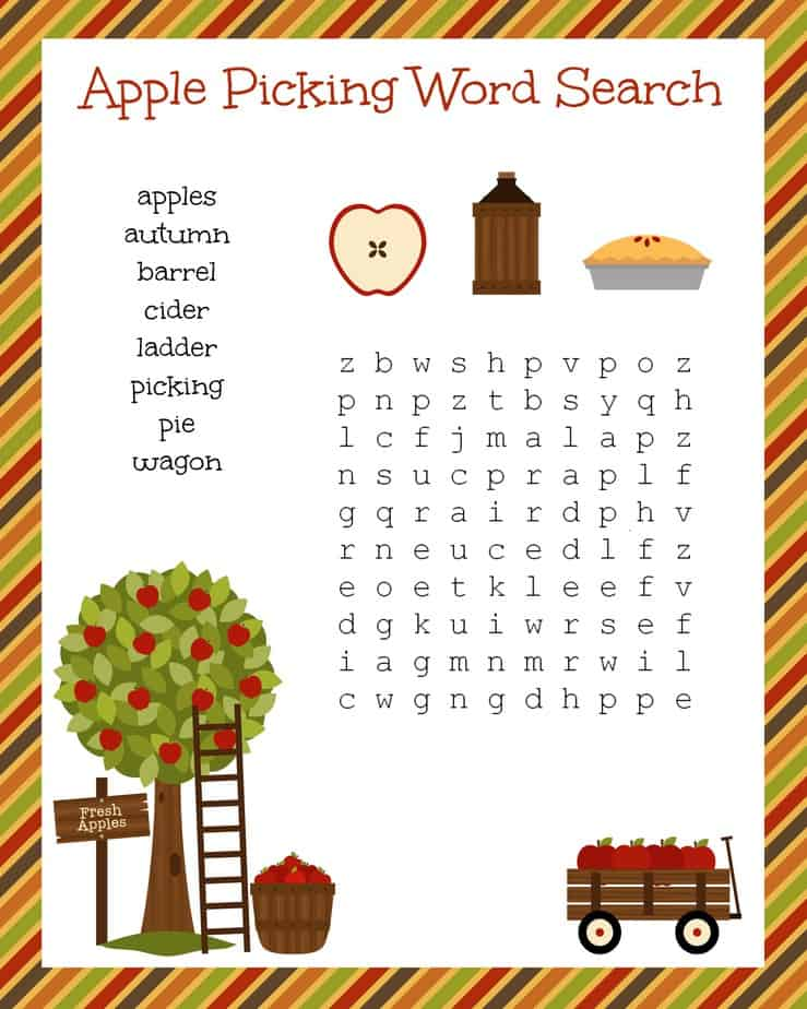 Free Fall Festive Apple Picking Word Search Printable Worksheet