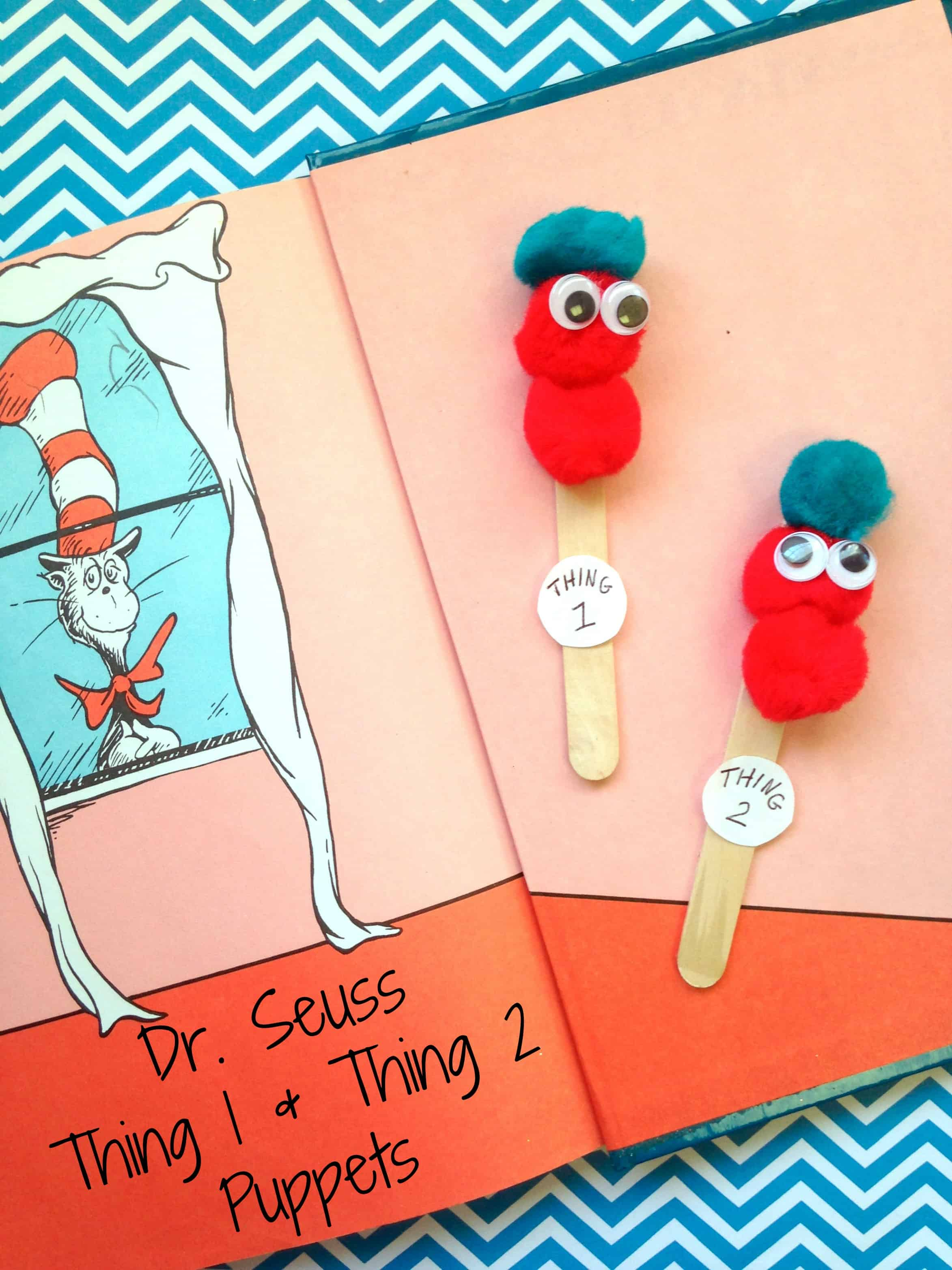 Dr Seuss Thing 1 And Thing 2 Puppets Kids Craft Stick Craft