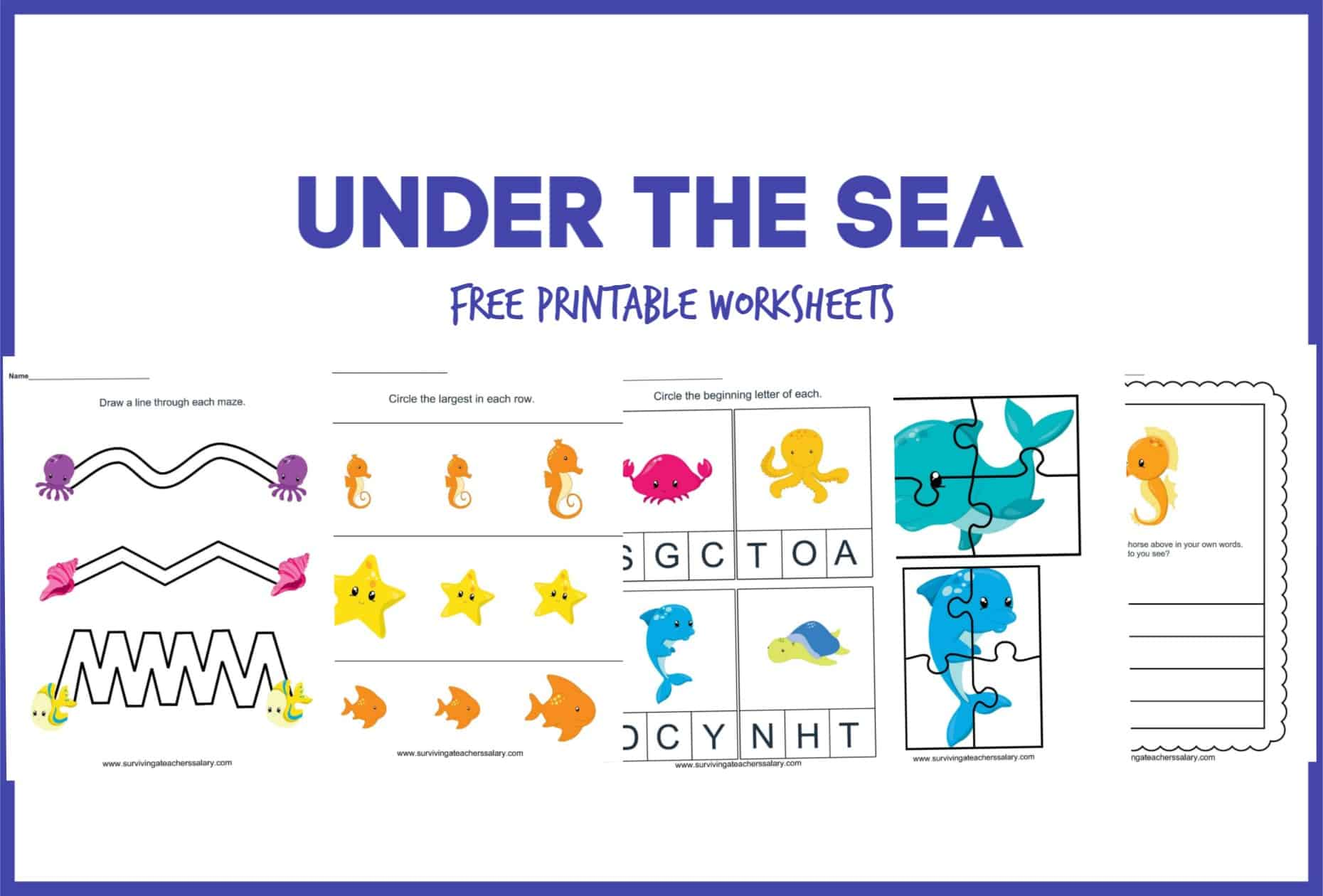 Free Under The Sea Worksheet Printable Preschool Set
